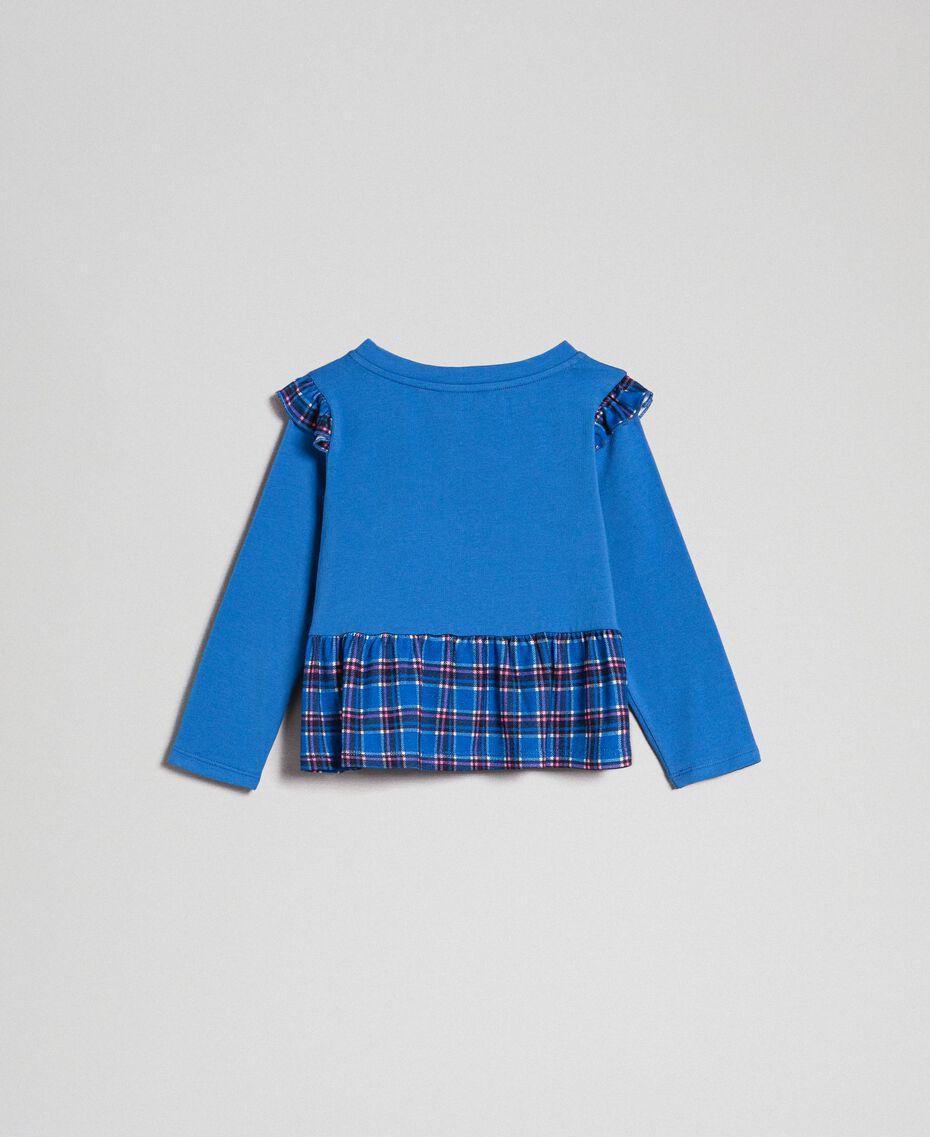 T-shirt avec imprimé et volant dans le bas Bleu «Méditerranée» / Carreaux Bleu «Méditerranée» Enfant 192GB2440-0S