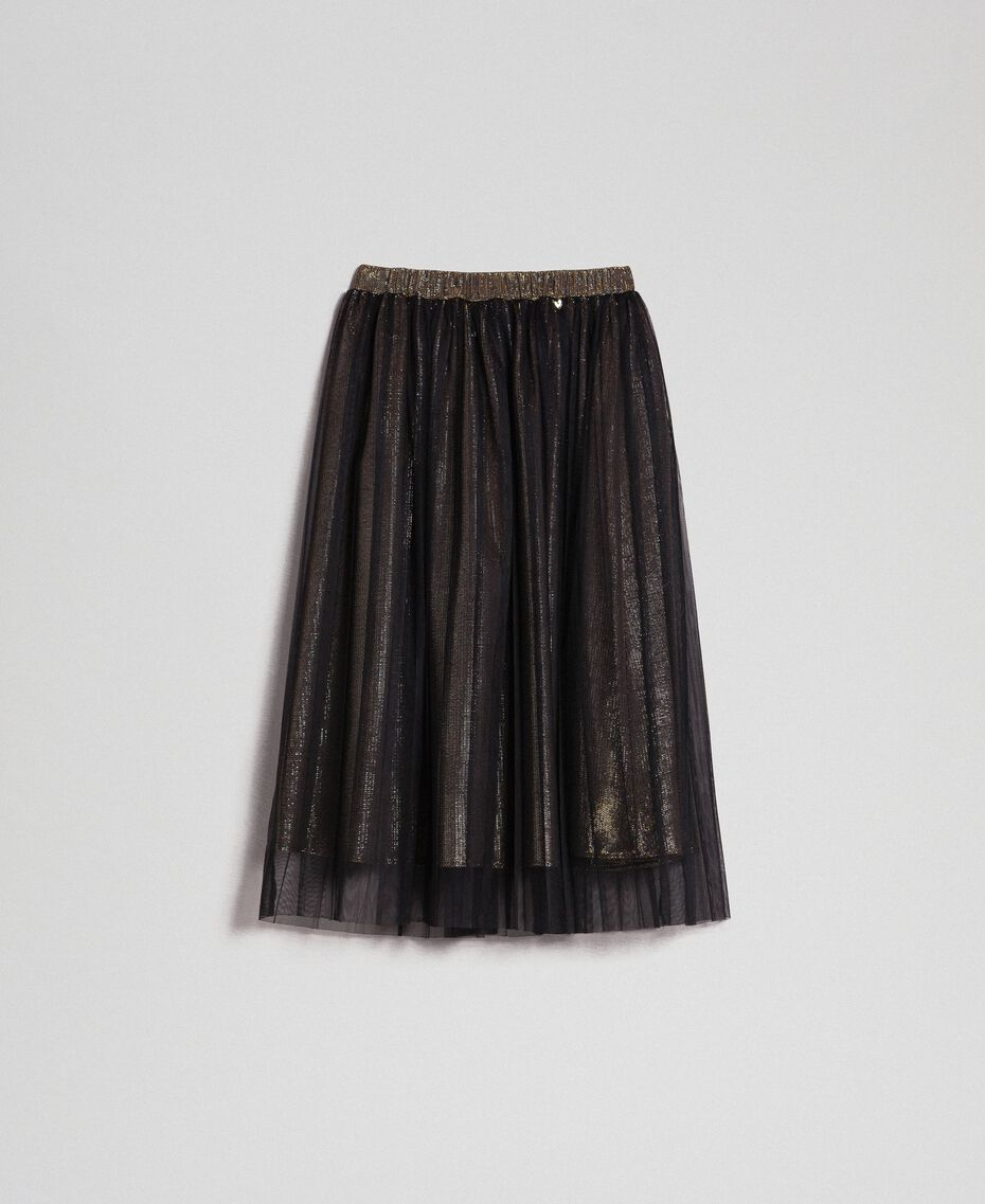 Metal effect midi skirt with tulle Black Gold Woman 192MT2190-0S