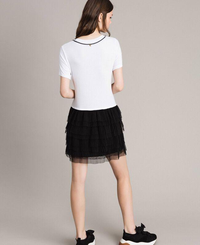 Kleid mit Stickerei und Tüllrock Zweifarbig Weiß / Schwarz Frau 191MP2234-03