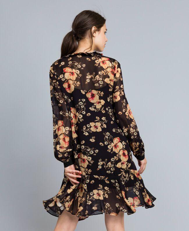 """Kleid aus Georgette mit Blumenprint Alloverprint """"Bouquet"""" Frau TA825F-03"""