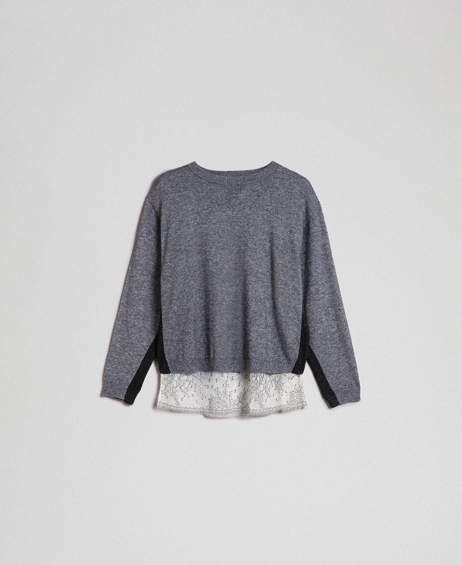 Boxy jumper with slip top Medium Gray Mélange Woman 192MP3101-0S