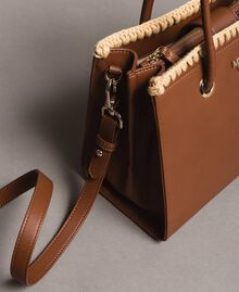 "Faux leather shopping bag ""Earth"" Brown Woman 191MO8091-01"
