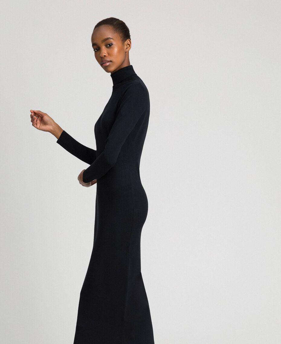 Robe longue en maille Noir Femme 192MT3014-02