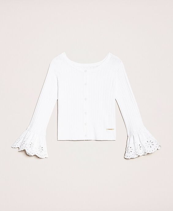 Pull-cardigan avec broderie anglaise