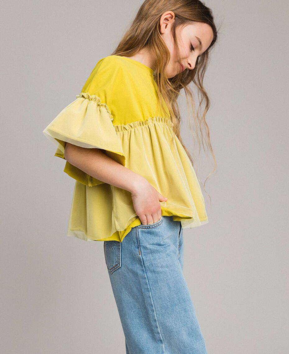 "Jersey and tulle T-shirt ""Bamboo"" Yellow Child 191GJ2332-02"
