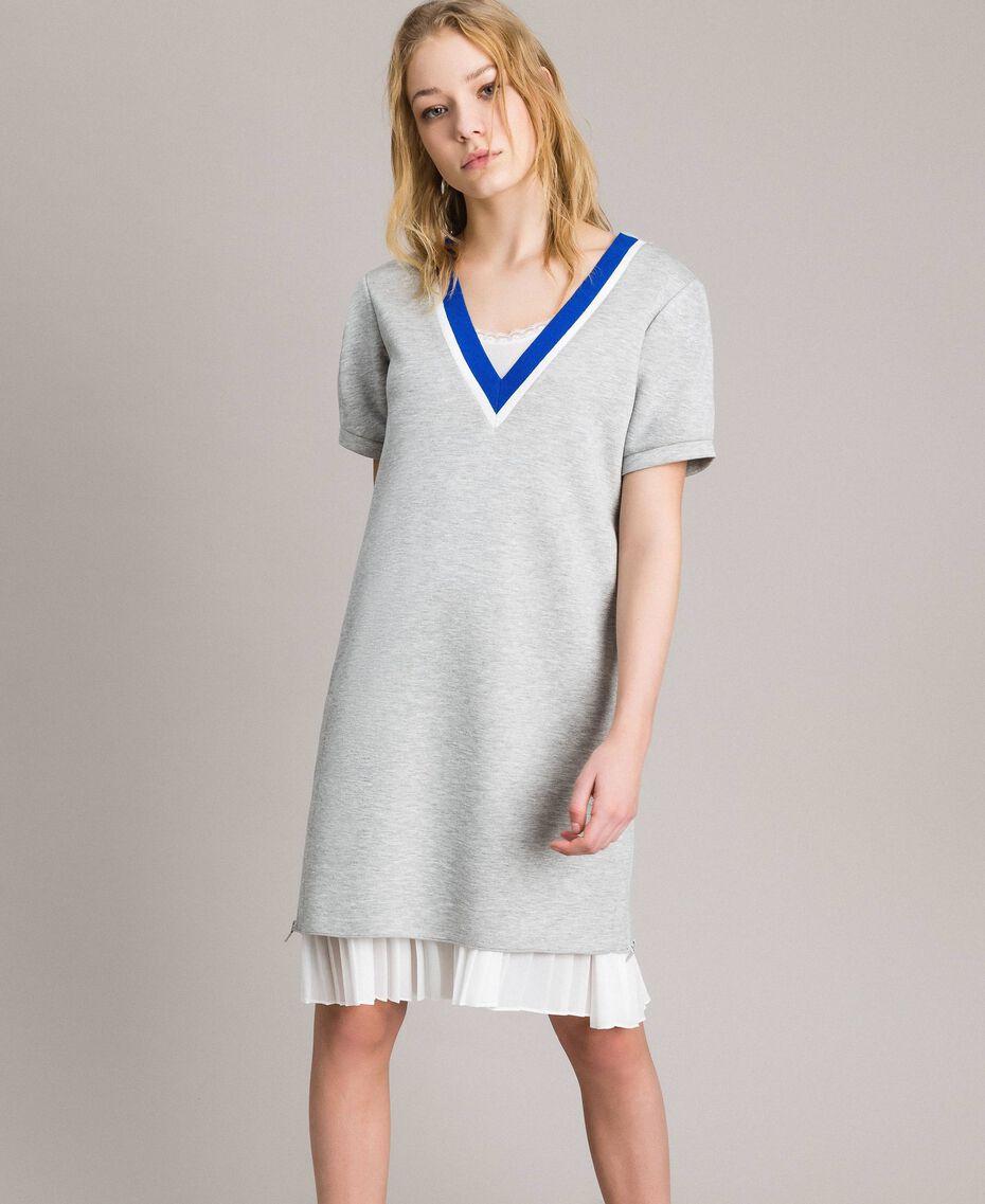 Robe plissée en scuba Gris Mélangé Femme 191TP2063-02