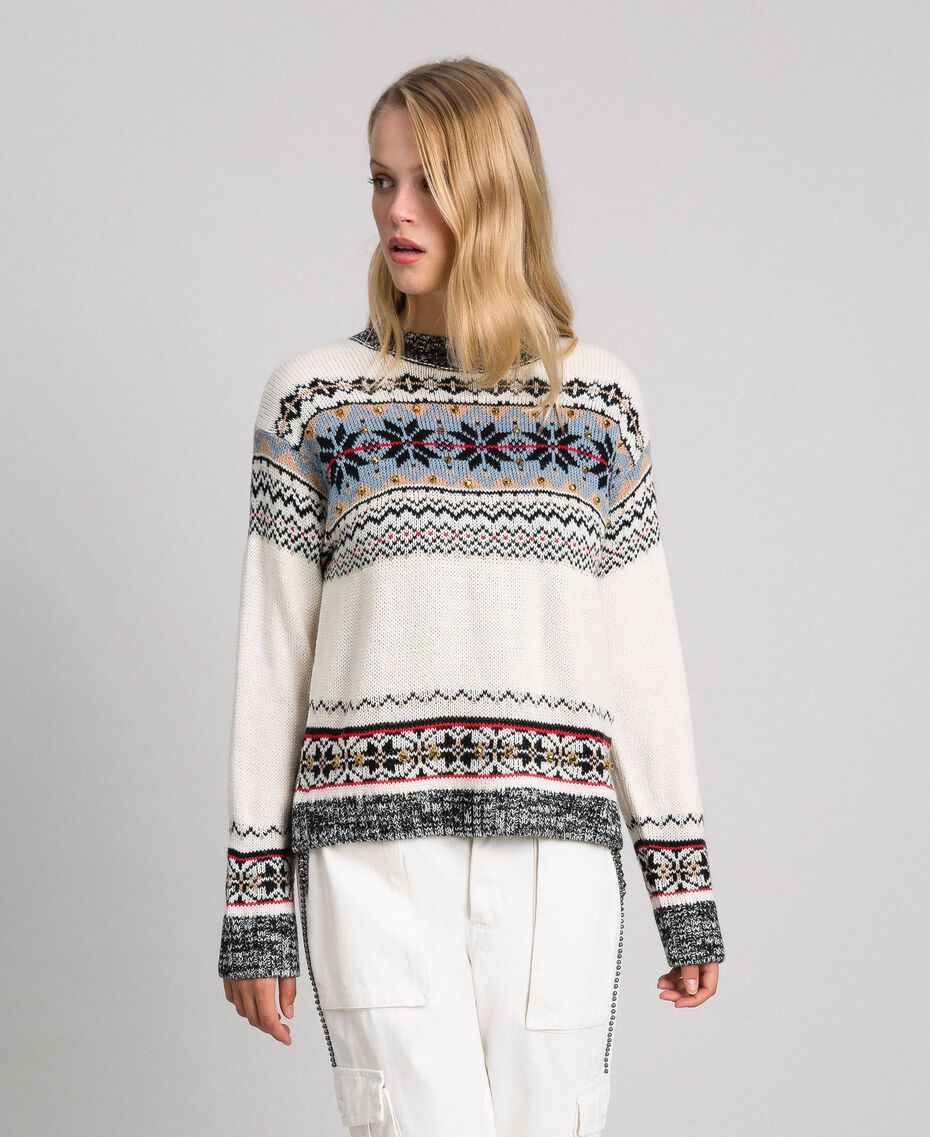 Alpaca jacquard blend jumper Vanilla White Woman 192MT3080-02