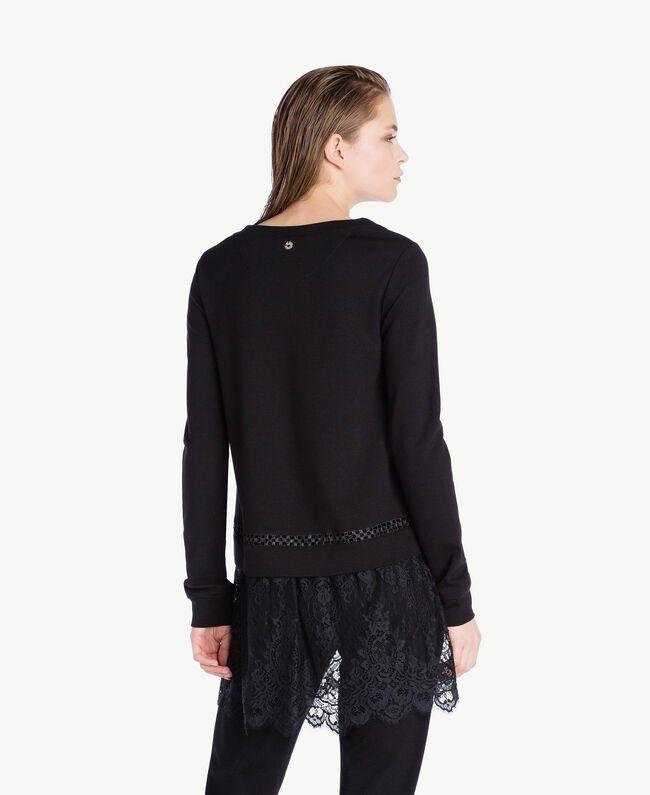 Sweatshirt aus Spitze Schwarz Frau LS8CFF-04