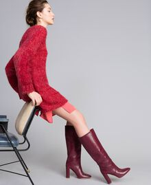 """Maxi mohair jumper """"Poppy"""" Red Mouliné Woman PA838A-04"""