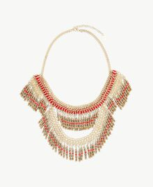 Bead necklace Multicolour Ruby Red / Gold Woman OS8T51-01