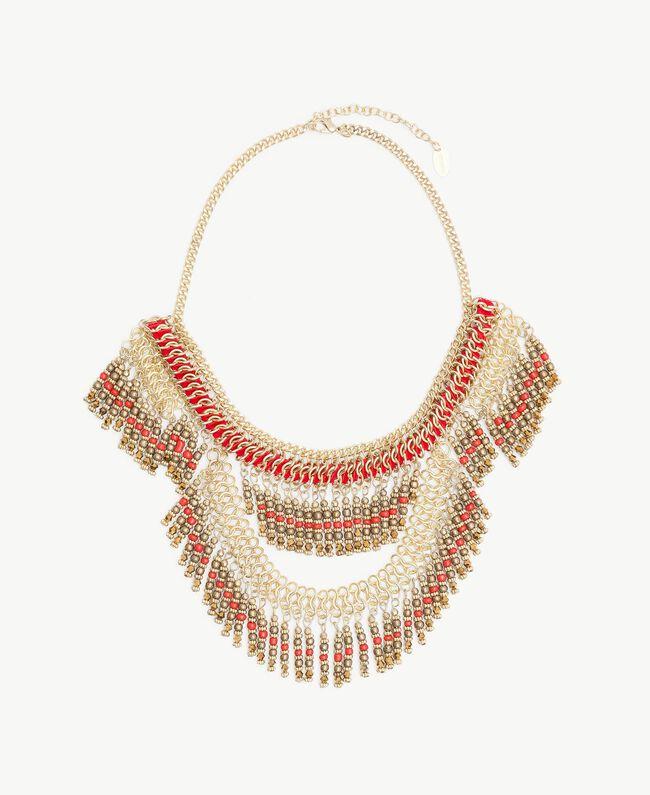 Halskette mit Perlen Multicolor Rubin / Gold Frau OS8T51-01