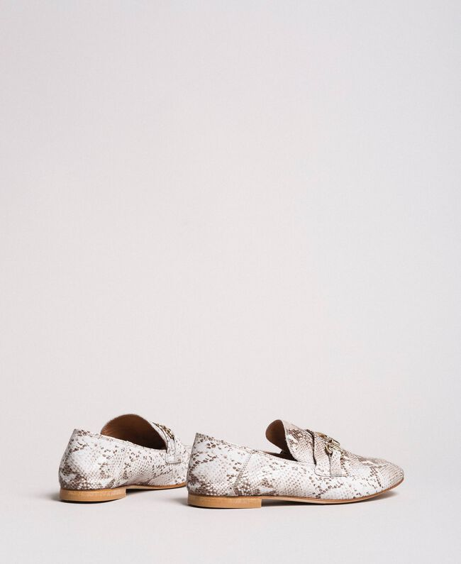 Leather loafers Ice Python Print Woman 191TCP082-04