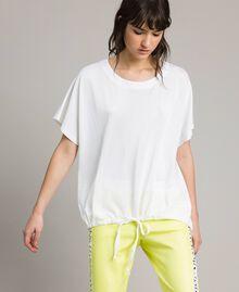 T-Shirt mit Tunnelzug Weiß Frau 191LL23GG-01