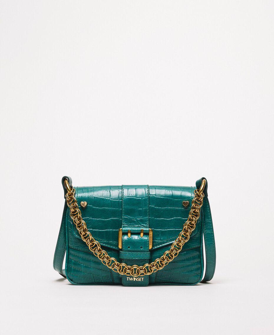 "Small Rebel shoulder bag with croc print ""Python"" Green Croc Print Woman 201TA7111-01"