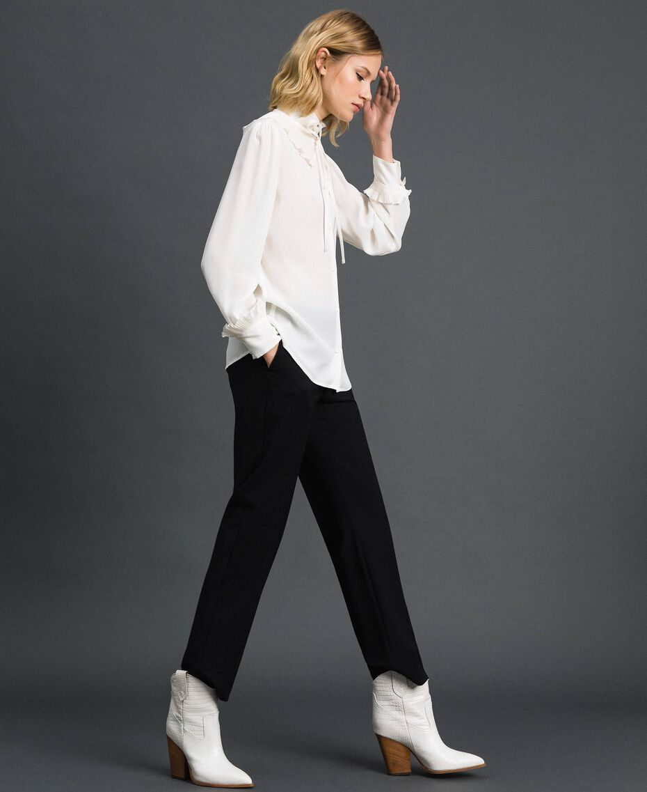 Chemise en crêpe de Chine de soie mélangée Blanc Neige Femme 192TP2100-02