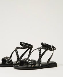 Sandals with studs Black Woman 211TCT122-02