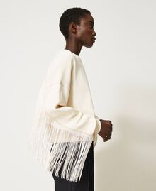 Cropped sweatshirt with fringes Creamy White Woman 202TP265F-05