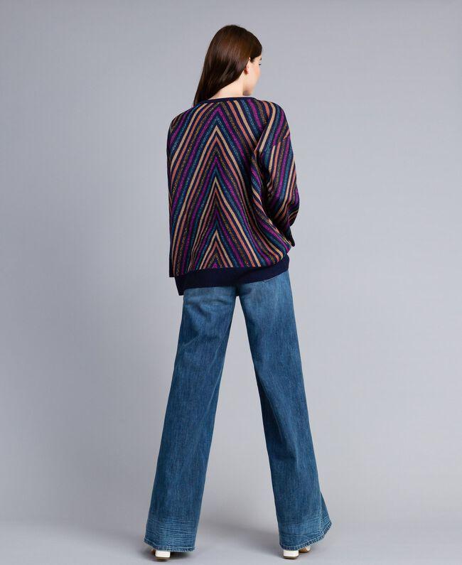 Pullover aus Lurexjacquard mit mehrfarbigem Streifenmuster Jacquard Blau / Lurexstreifen Frau TA838H-03