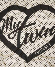 Heart motif print and lace kefiah Cream White / Black Heart Print Woman 202MA432H-02