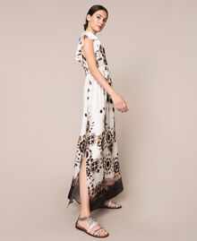 Printed satin long dress Black Unevenly Dyed Print Woman 201LB2GMM-03