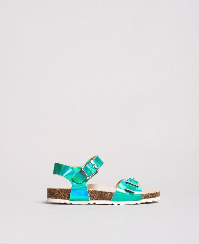 "Beschichtete Leder-Sandalen Blau ""Wasser"" Kind 191GCJ162-01"