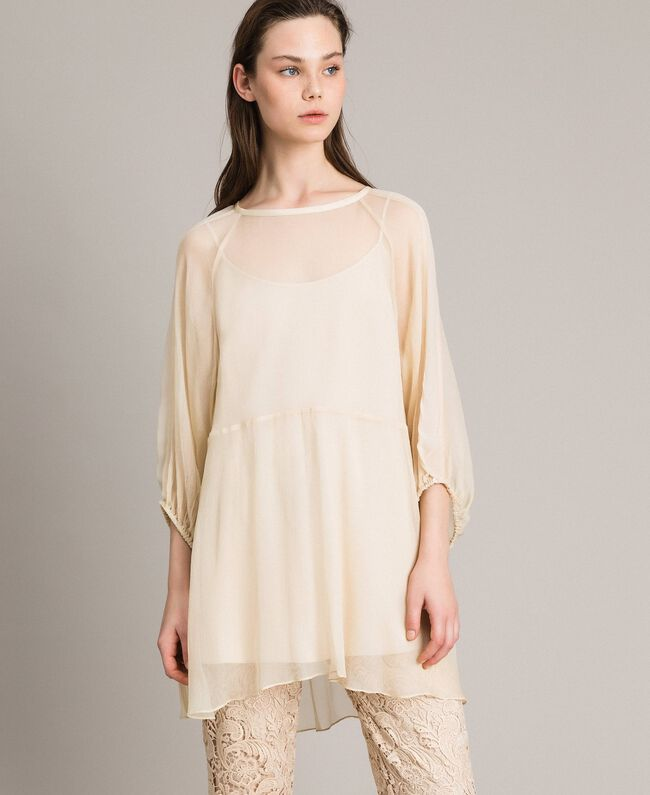 Crepon and georgette dress Ecrù Woman 191ST2207-01
