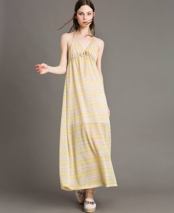 Robe longue avec rayures lurex