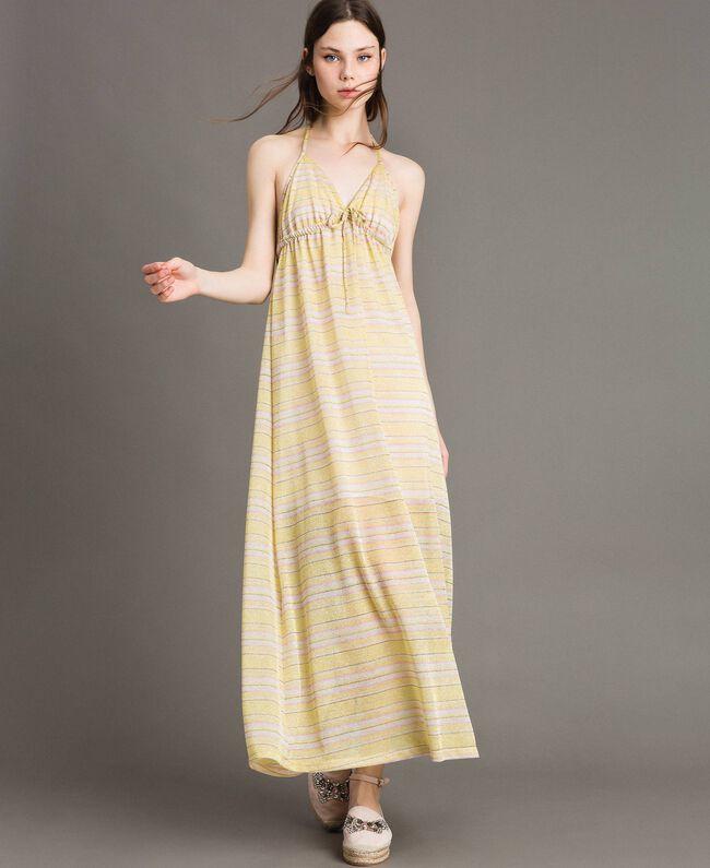 """Robe longue avec rayures lurex Rayures Multicolores Marron """"Poudre De Bronze"""" / Jaune """"Jus De Citron"""" Femme 191LB2AFF-01"""