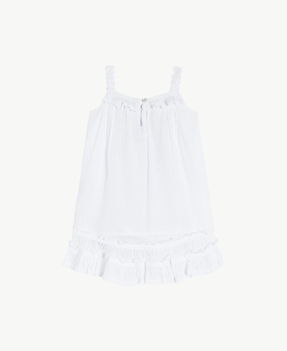 "Embroidered dress ""Papyrus"" White Jacquard Stripes / Light Melange Grey Child FS82LB-02"