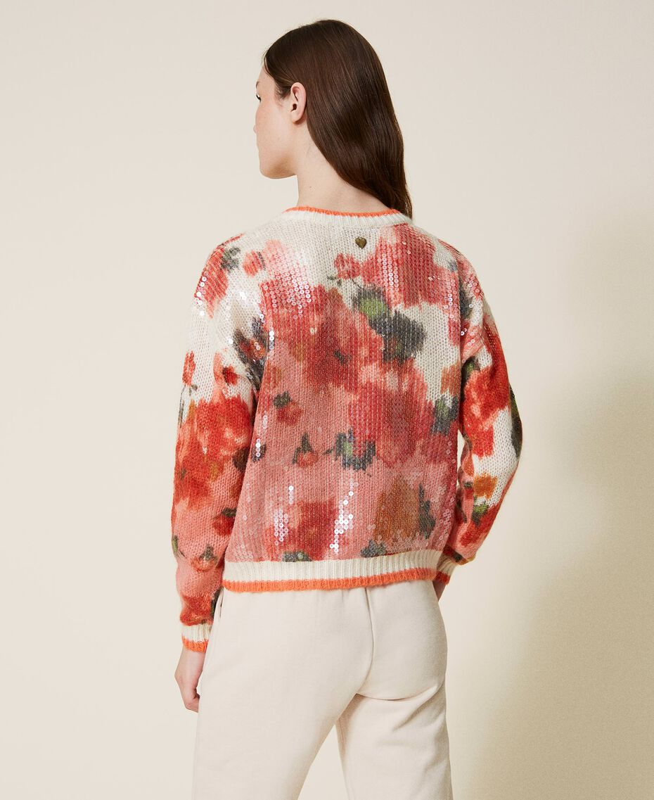 Mohair and wool jumper with sequins Ivory / Coral Dream Large Flower Print Woman 202TT3281-03