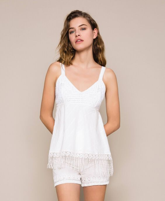 Broderie anglaise and crochet top