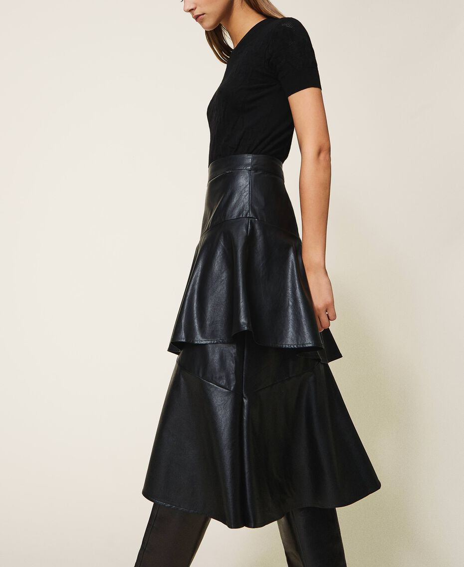 Faux leather midi skirt with flounce Black Woman 202ST2016-02