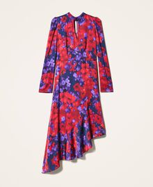 "Floral print satin dress ""Vibrant"" Purple / Venetian Red Floral Print Woman 202TT2350-0S"