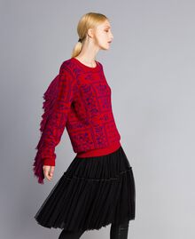 """Maxi jacquard jumper with fringes Two-tone """"Blackberry"""" Purple / Cherry Red Woman QA8TBN-03"""