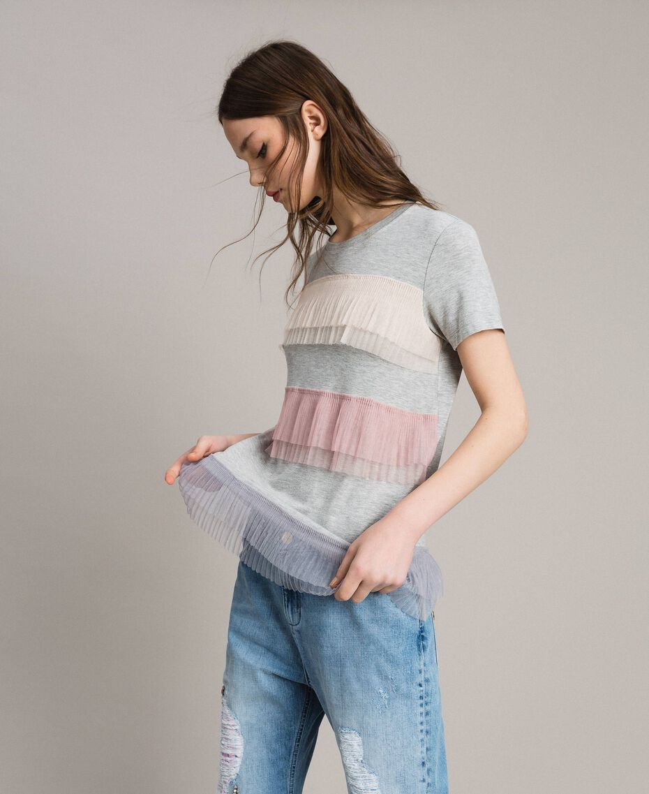 T-shirt with pleated tulle flounces Muticolour Tulle Woman 191MP2230-01