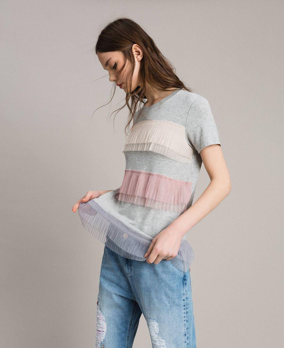 T-shirt avec volants en tulle plissé Multicolore Tulle Femme 191MP2230-01
