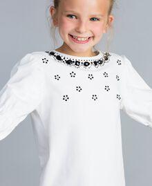 Maxi-T-Shirt mit Strass und Steinchen Mattweiß Kind GA821N-04