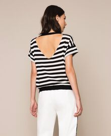 "Two-tone striped jumper with flower Black / ""Snow"" White Stripes Woman 201TP3221-03"