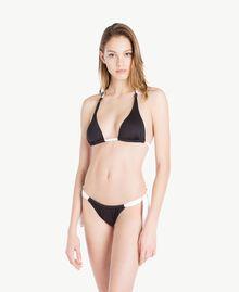 Tanga de bain nœuds Bicolore Noir / Blanc Optique Femme MS8F88-02