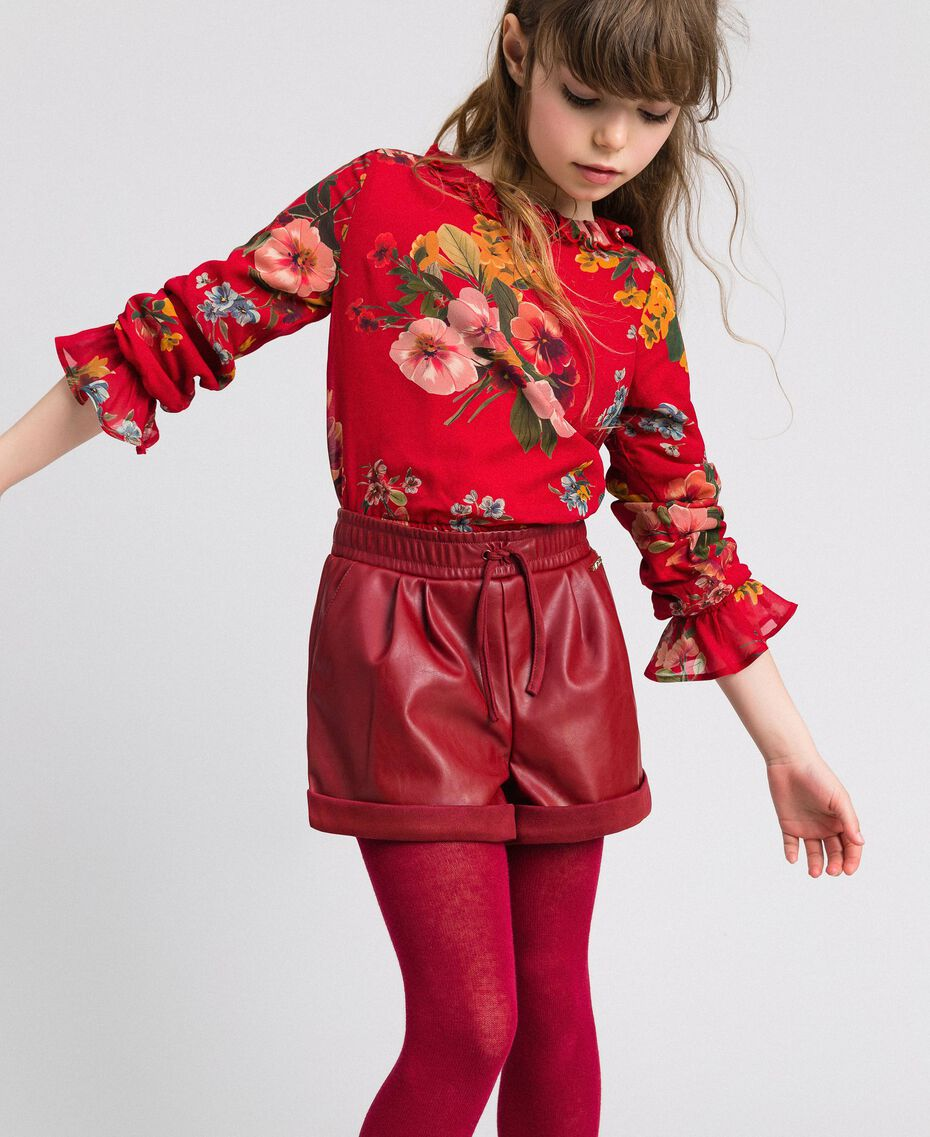 Shorts in similpelle Rosso Ruby Wine Bambina 192GJ2012-01