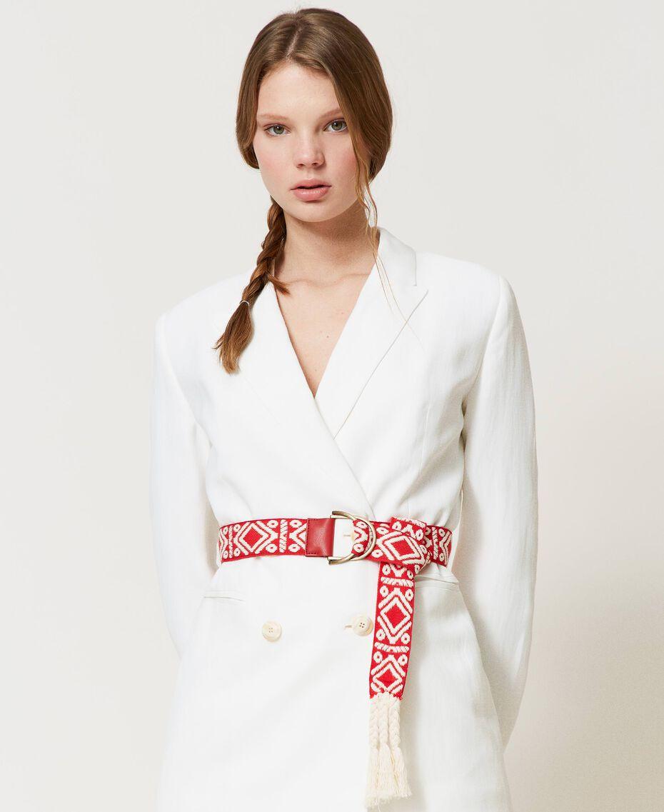Cinturón de jacquard con borlas Jacquard Étnico Blanco «Nieve» / Negro Mujer 211TO5067-0S