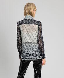 """Hemd aus bedrucktem Georgette Printmix """"Air de Neige"""" Schwarz und Vanille Frau 192MT2391-03"""