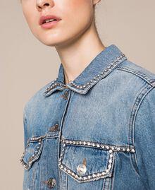 Denim jacket with rhinestones Denim Blue Woman 201MP2271-02