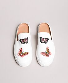 Leather mules with butterfly patches White Woman 191TCP10G-04