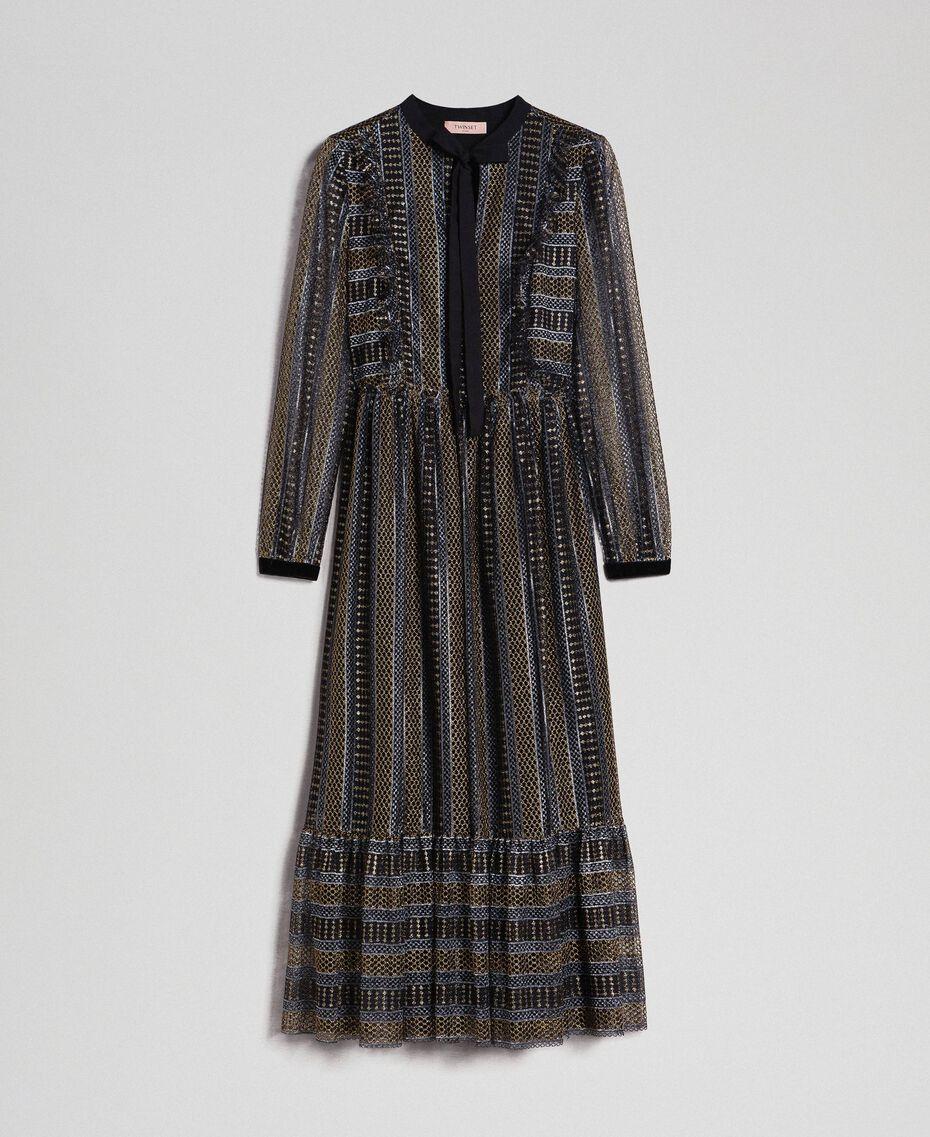 Lurex lace long dress Black Woman 192TT2360-0S