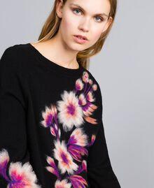 Kleid aus Wollmischung mit Stickerei 3D-Stickerei Schwarz Frau TA83JA-04