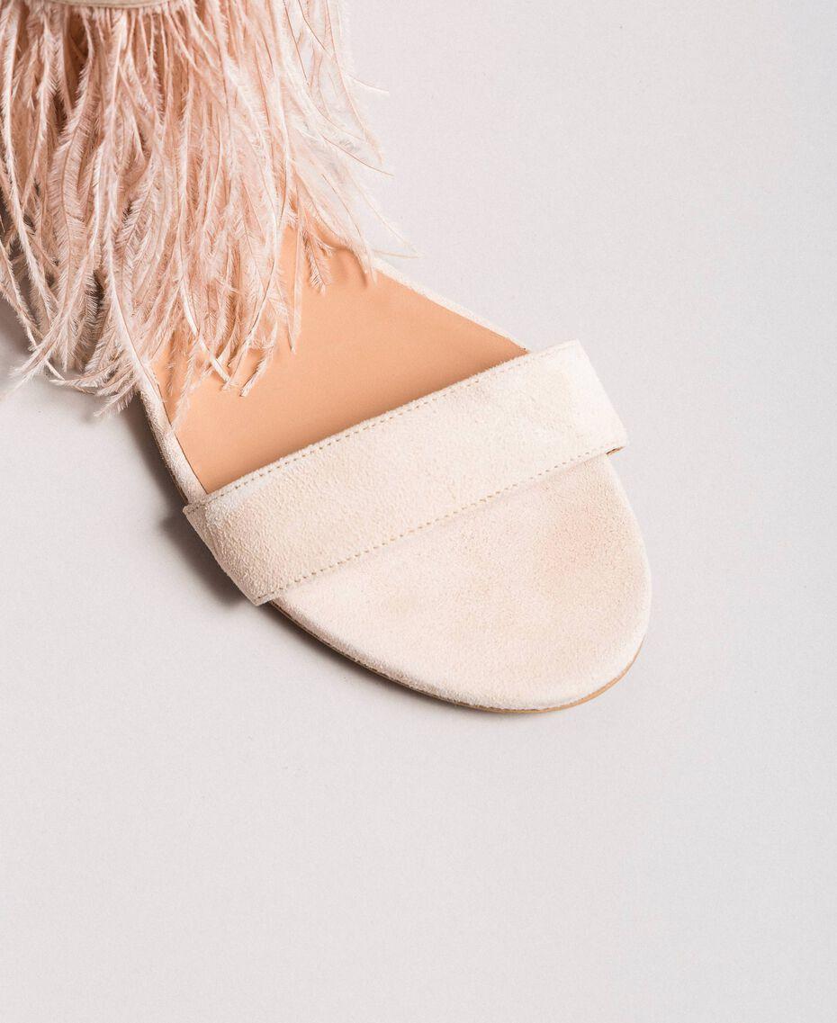 Sandales plates à plumes Rose Bouton Femme 191TCP212-05