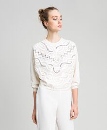 Cashmere blend jumper with embroidery White Snow Woman 192TQ3038-04