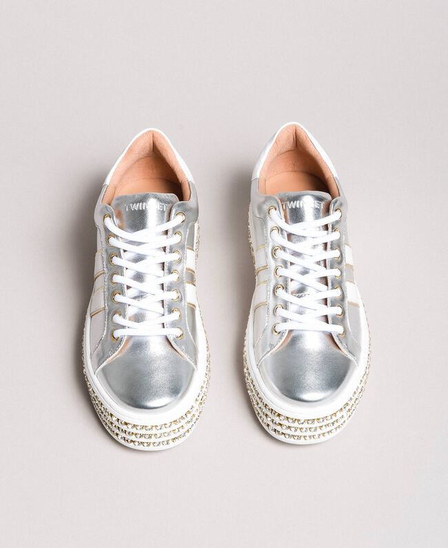 Leder-Sneakers mit Strasssteinen Silber Frau 191TCP170-04