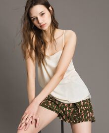 "Crêpe de Chine top with lace ""Shell"" Beige Woman 191MT2450-01"